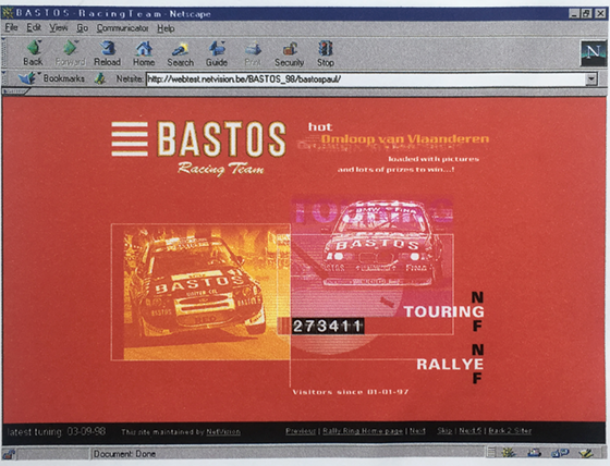 Bastos Racing Team homepage 1997 - web design - project management - met werkende koplampen en bezoekersteller!