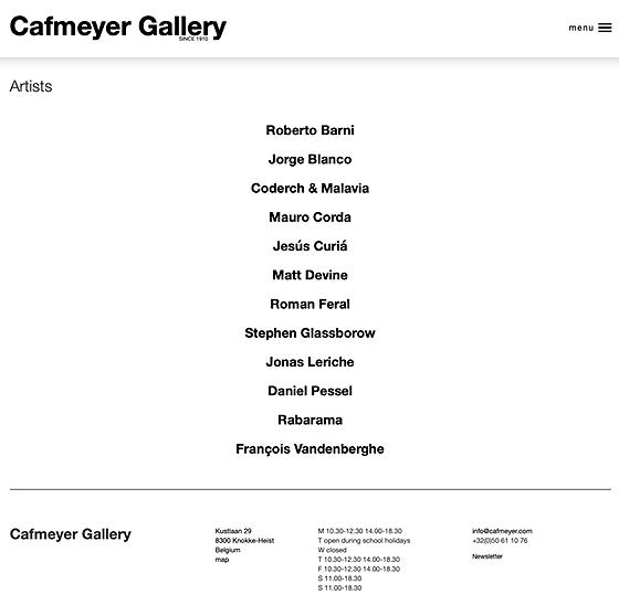 overzicht van de kunstenaars dd. 10/2019 Cafmeyer Gallery