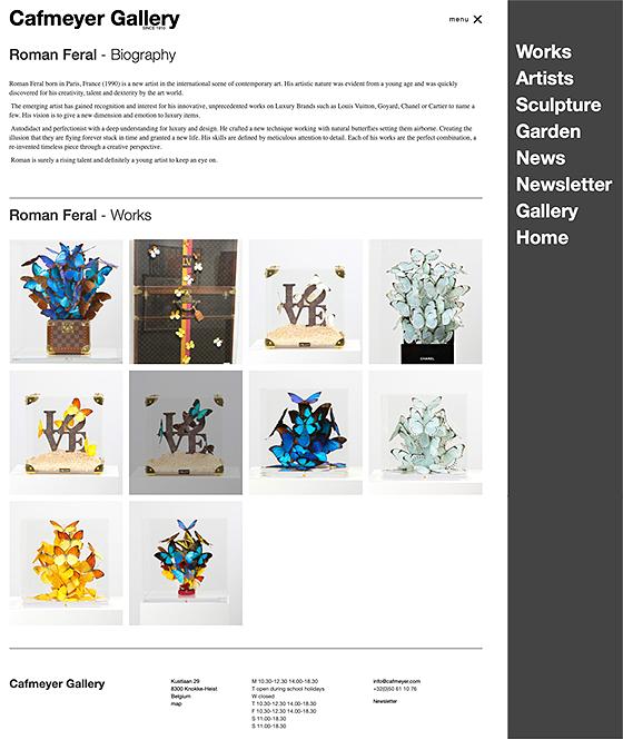 overzicht van geselecteerde kunstenaar dd. 10/2019 Cafmeyer Gallery