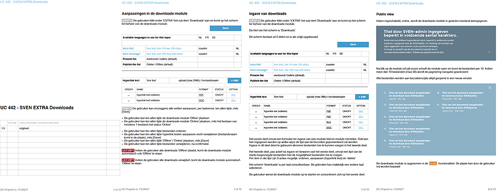 gedetailleerde beschrijving van functionaliteiten in overzichtelijke use-cases