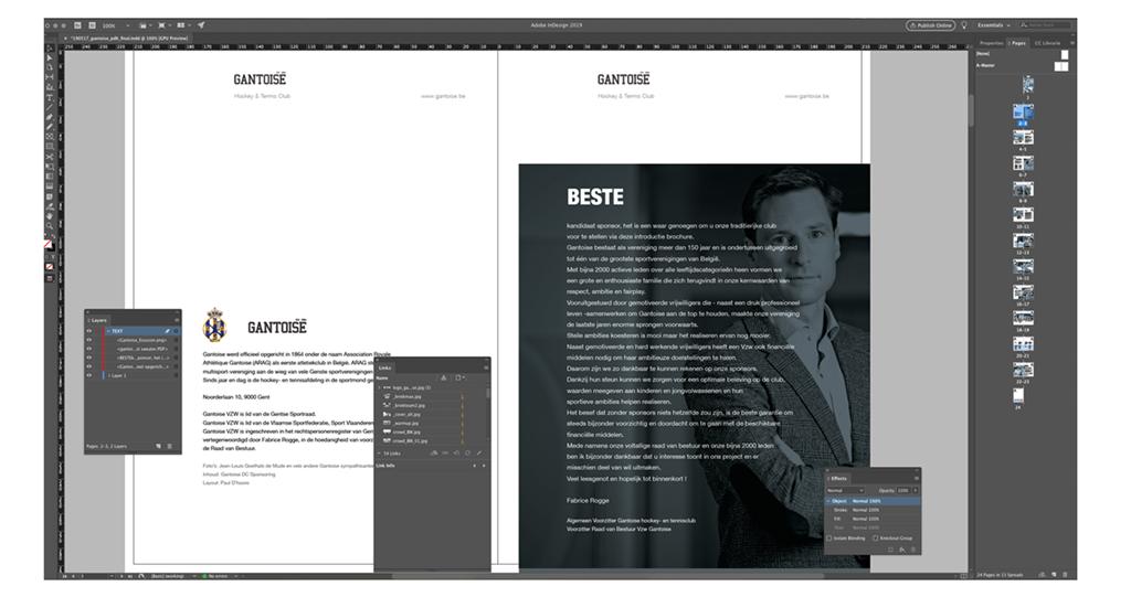 Gantoise sponsorbrochure in Adobe InDesign workspace