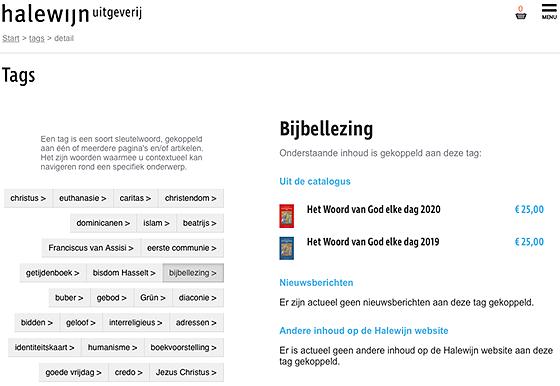 Afbeelding van scherm website halewijn met tag cloud