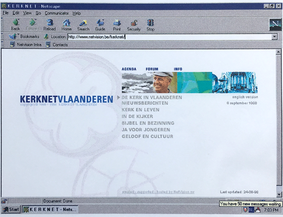 Kerknet homepage 1998 - webdesign - project management
