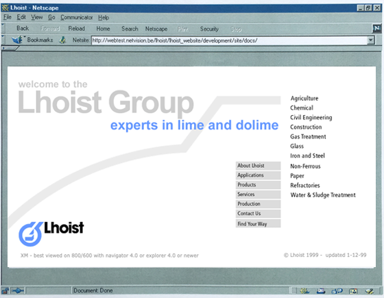 Lhoist homepage 1999, large-scale website, navigatie op 4 niveaus
