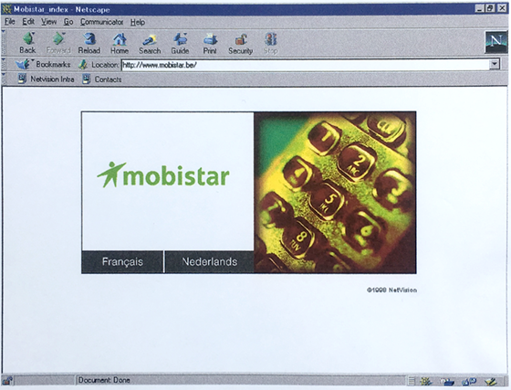 Mobistar 1e homepage 1998 - web design - support
