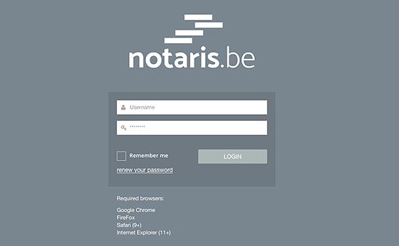 notaris administratie-omgeving log in