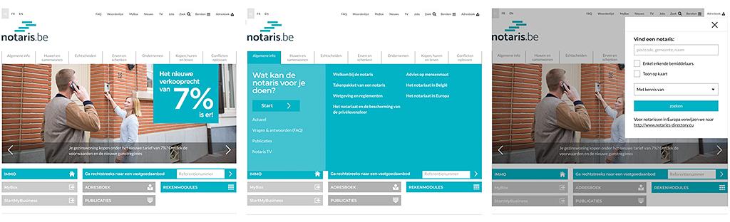 notaris.be homepage, directe toegang tot alle content en belangrijkste functionaliteiten vanuit het bovenste schermdeel