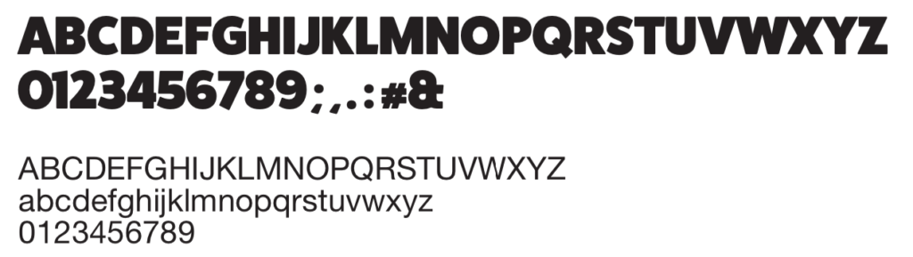 Weergave HCPA-lettertype FatFrank in alfabet