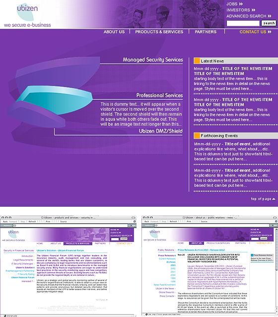 selectie schermen Ubizen website 2.0