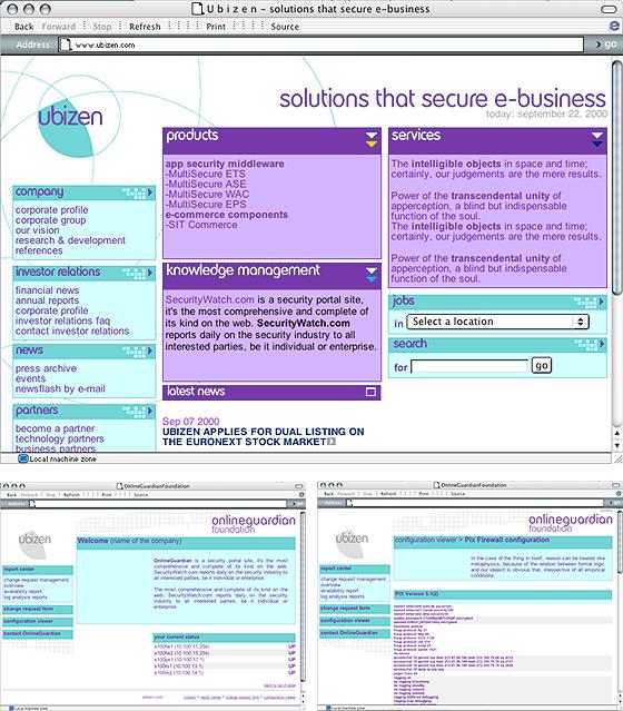 selectie schermen Ubizen website 3.0