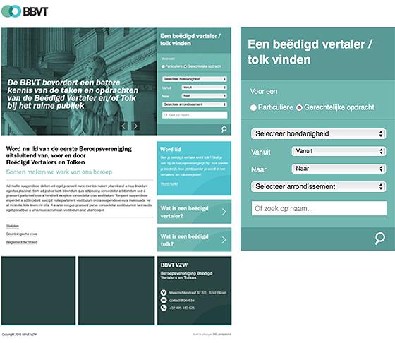 homepage BBVT met zoekfunctionaliteit