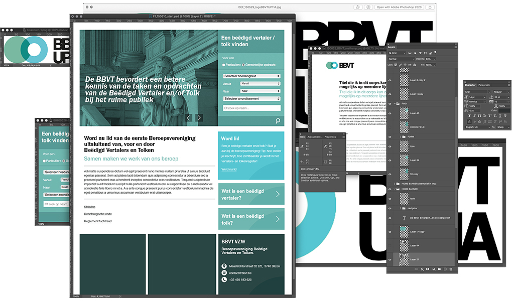 BBVT - UPTIA workspace visual identity, branding, webdesign en project management